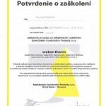 Potvrdenie o zaškolení pre prácu so zatepľovacími systémami