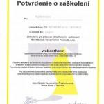 Potvrdenie o zaškolení Saint-Gobain Construction Products s.r.o.